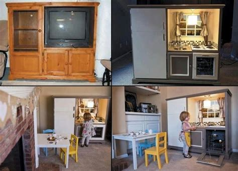 Recycle An Old Entertainment Center Into A Kids Play Pretend Kitchen Furniture
