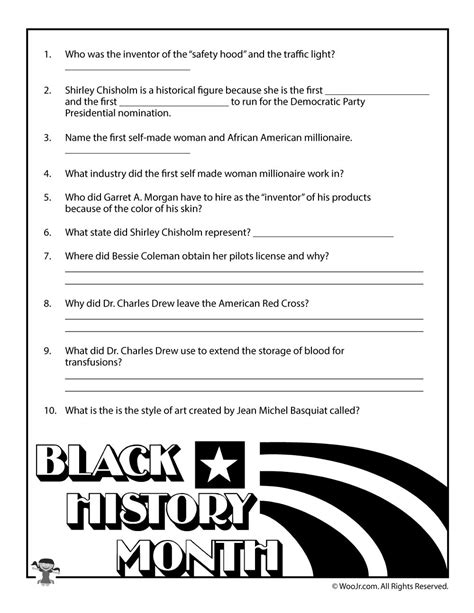 printable art history test black history month biographies quiz woo jr kids