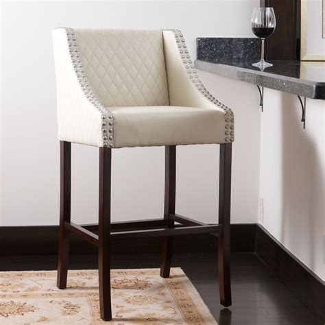 ivory leather bar stools contemporary white ivory leather counter stool