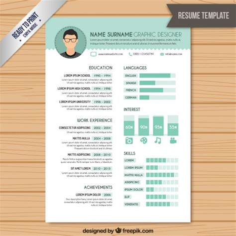 Graphic Resume by Resume Graphic Designer Template Vector Free