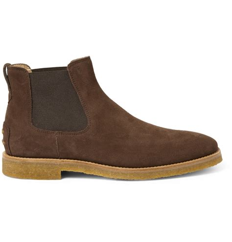 tod s crepesole suede chelsea boots in brown for lyst