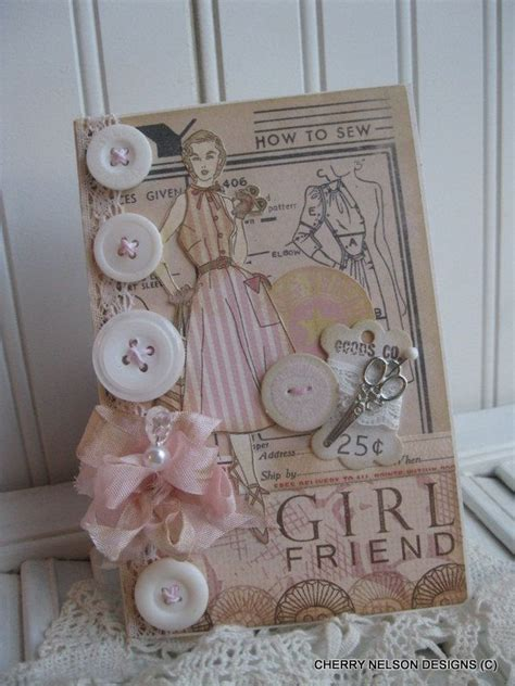 shabby chic 1950s lady card girlfriend card pattern sewing handmade card handmade cards