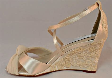 Ivory Wedding Shoes Wedge Heel by Pearl And Lace Bridal Wedge Vintage Lace Wedding Wedge