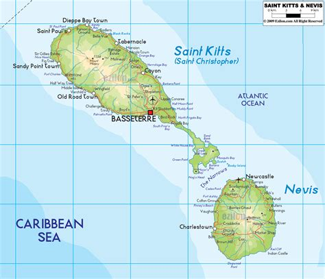 st kitts and nevis map physical map of kitts and nevis ezilon maps
