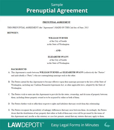 prenuptial agreement template prenuptial agreement form free prenup forms us lawdepot