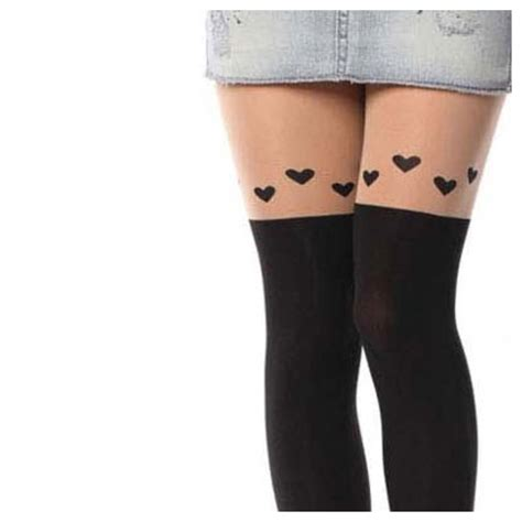 cute stockings cute over knee heart tights stocking from doublelw on storenvy