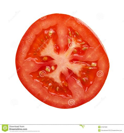 tomato cross section tomato section photographed directly above stock image