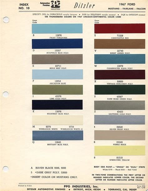 1967 mustang color codes misc auto colors mustangs and color codes