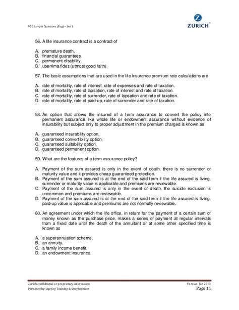 insurance agreement template pce sle question set 1 eng