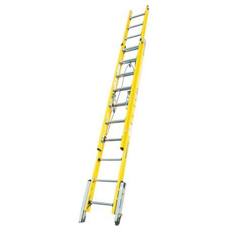 werner 20 ft fiberglass d rung leveling extension ladder