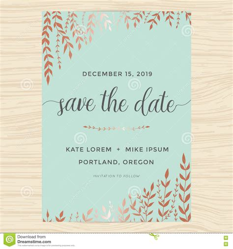 Elegant Garden Leafs In Copper Color Design For Save The Date Card Wedding Invitation Template Save The Date Announcement Template