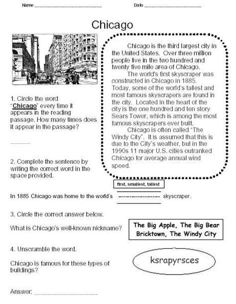reading comprehension test new york early childhood reading comprehension worksheet sle