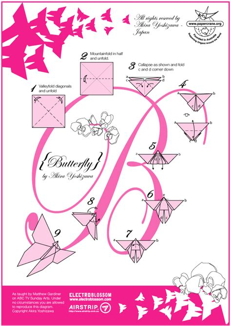 Origami Butterfly Pdf - papercrane australian origami diagrams abc sunday arts