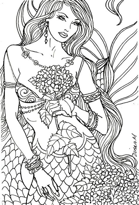 mermaid adult colouring under the sea fish mermaids mermaid colouring page for adults adult colouring under