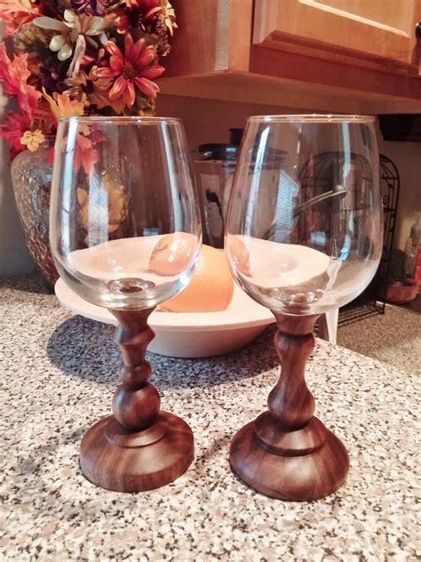 Handcrafted Wine - wine glass handcrafted wood turned walnut stem wineglass