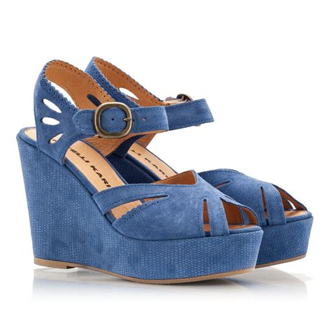 fratelli karida blue suede leather wedge heel platform