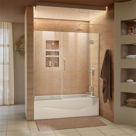 Shower Doors For Mobile Homes Dreamline Unidoor X 58 In W X 58 In H Frameless Hinged Tub Door In Brushed Nickel D58580 04