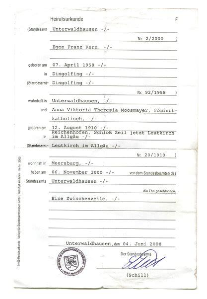 bescheinigung über die anmeldung der eheschließung anna moosmayer dokumente