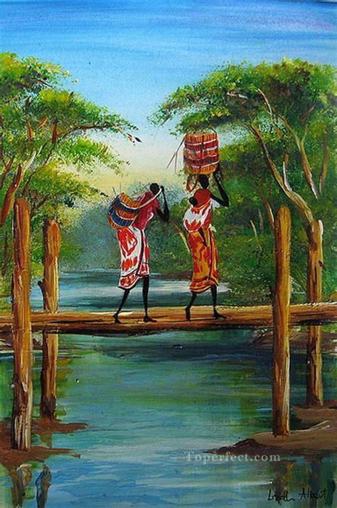 Single Plank Bridge africans on the single plank bridge painting in for sale