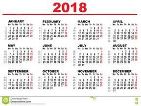 Calendario Nacional 2018 Calendario De La Rejilla Para 2018 Ilustraci 243 N Vector