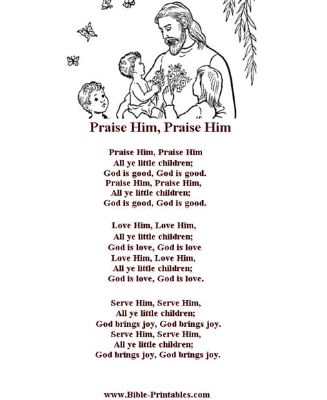 coloring book no problem lyrics bible printables children s songs and lyrics praise