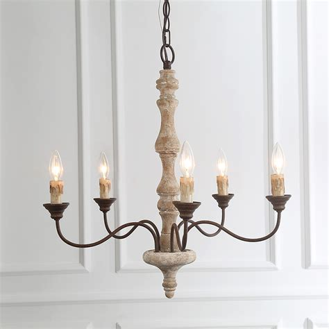 lnc handmade wood chandelier  light rust arms french