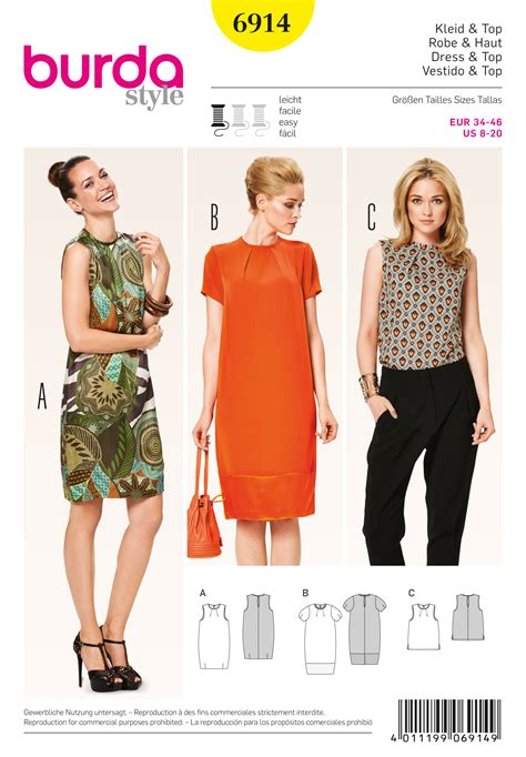 pattern dress burda burda 6914 dresses