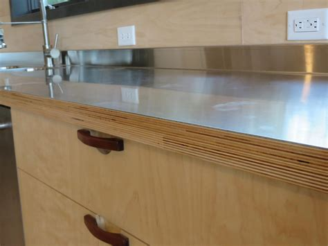 Kitchen With Stainless Steel Backsplash by Stainless Steel Laminated To Baltic Birch Woodweb S