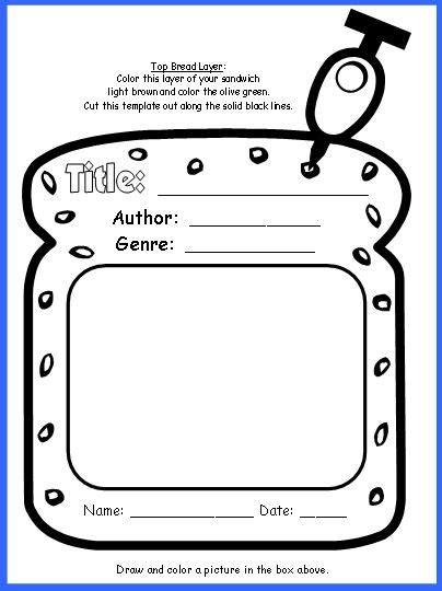 sandwich project book report sandwich book report project templates printable