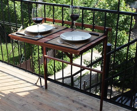 Balcony Railing Table by Creative Outdoor Accessories To Hang From Your Balcony Railing