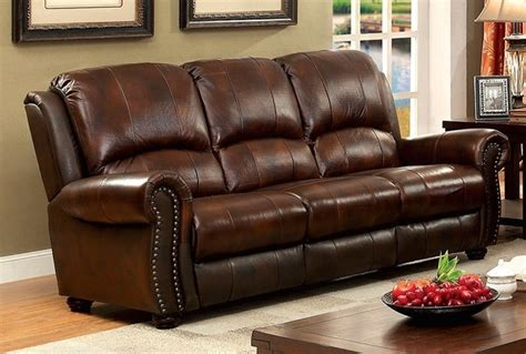 brown leather sofa with nailhead trim carlton traditional brown sofa in top grain leather