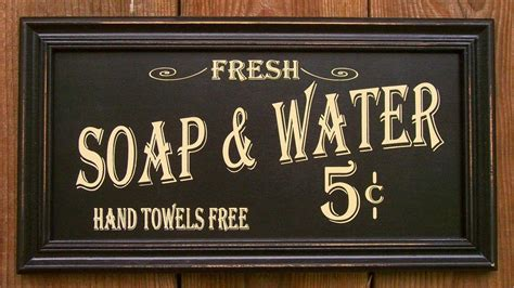 country bathroom signs vtg style soap water 5 cents hand towels free sign