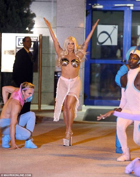 Lady gaga arrives in athens in a thong and seashell bra daily mail online