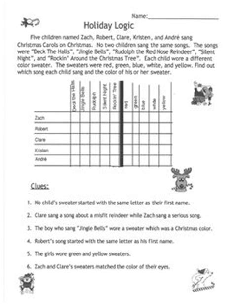 printable logic puzzles 4th grade logic problems for 4th grade worksheets printable