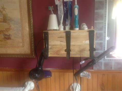 5 Dryer Curling And Flat Iron Holder Vertical dryer and curling iron holder unstained pallets