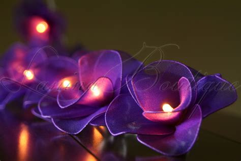 20 purple nylon rose flower battery powered led string