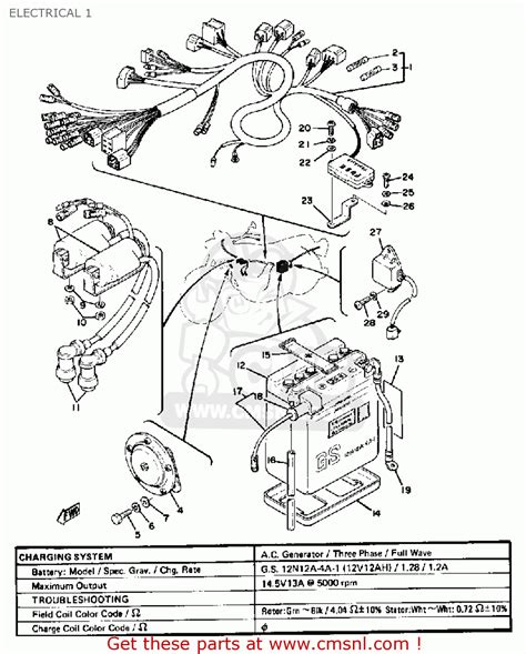 yamaha xs400 2 1979 usa electrical 1 schematic partsfiche