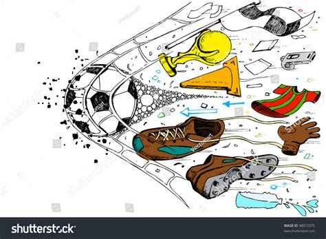 doodle soccer illustration doodle soccer element goal net stock vector