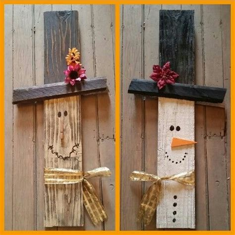 painted wood decor ideas google search paintings wood reversible salvaged wood scarecrow snowman holiday decor
