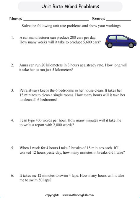 pictures unit rate problems worksheet dropwin