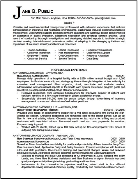 Resume Sles Healthcare Administration Healthcare Administrator Resume Sle The Resume Clinic