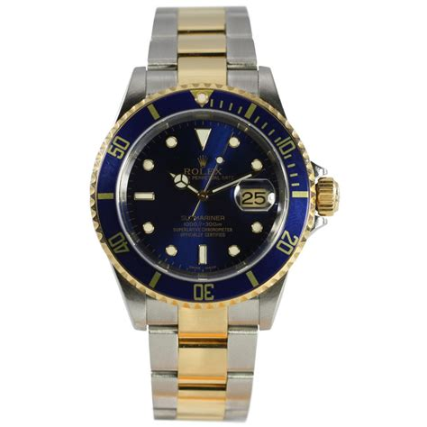 rolex pre owned mens bi metal submariner blue