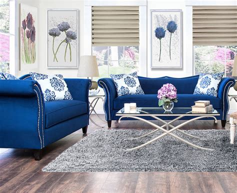 furniture of america othello 2 royal blue sofa set