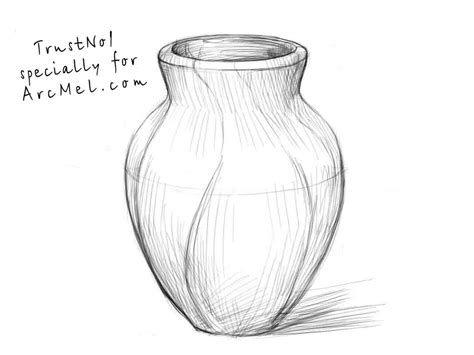 Sketch Of A Vase by How To Draw A Vase Step By Step Arcmel