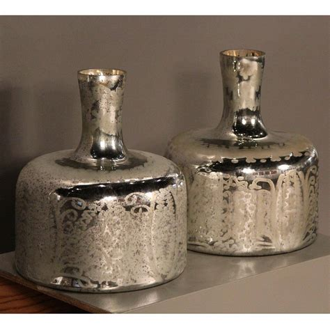 pair of important size mercury glass vases for sale at 1stdibs