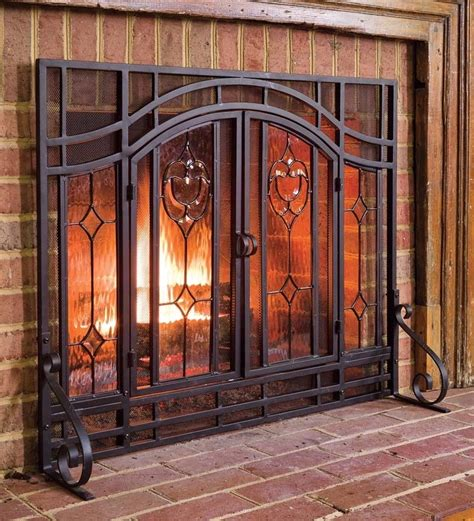 fireplace screen place beveled glass doors