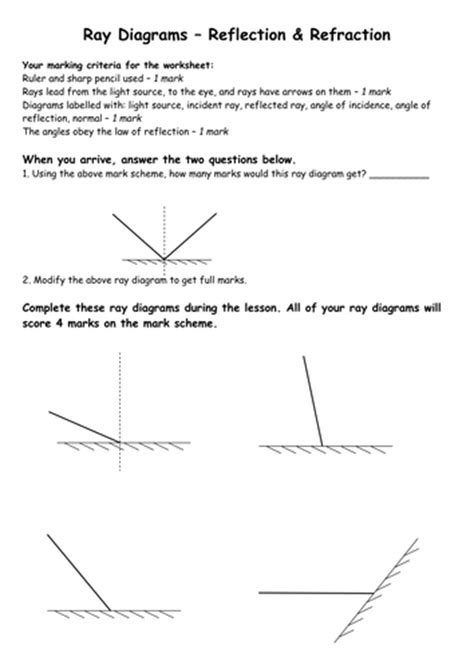 Reflection Worksheet Answers by Reflection And Refraction Worksheet By Biscuitcrumbs