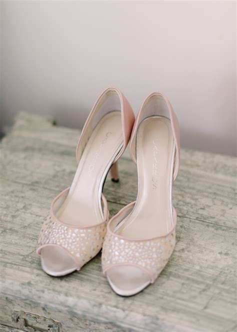 Blush Pink Bridal Shoes by Blush Peep Toe Bridal Shoes Elizabeth Designs The