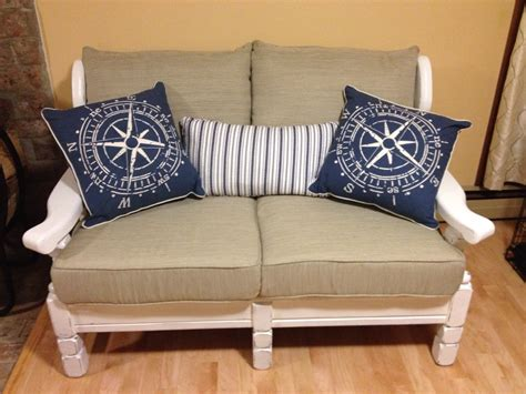 redo couch cushions old wood couch makeover using chalk paint after pic