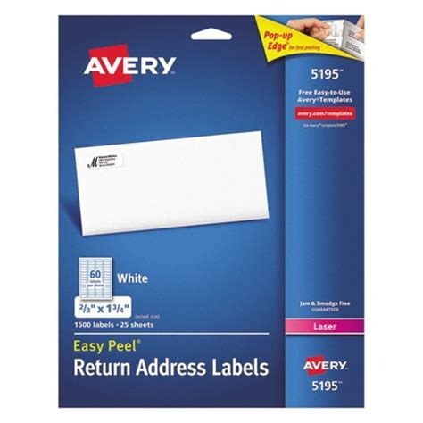 Avery 174 2 3 X 1 3 4 Laser Easy Peel Address Labels White 1500 Pk Target Avery 4 X 3 1 3 Label Template